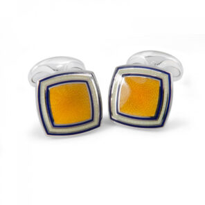 Sterling Silver Yellow Enamel Cufflinks with Striped Border