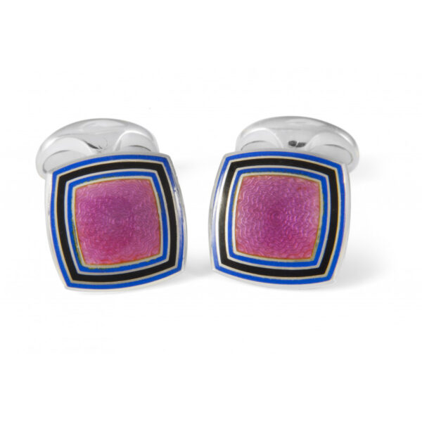 Sterling Silver Pink Enamel Cufflinks With Striped Border