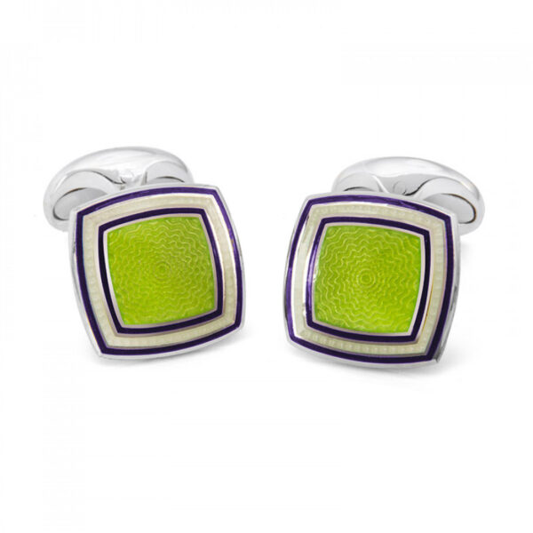 Sterling Silver Green Enamel Cufflinks with Striped Border