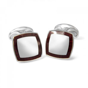 Sterling Silver Cufflinks with Red Enamel Border