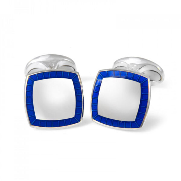 Sterling Silver Cufflinks With Blue Enamel Border