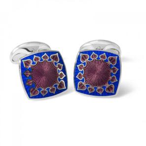 Sterling Silver Fancy Enamel Cufflinks in Red and Blue