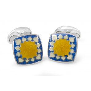 Sterling Silver Fancy Enamel Cufflinks in Yellow and Blue