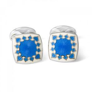 Sterling Silver Fancy Enamel Cufflinks in Blue