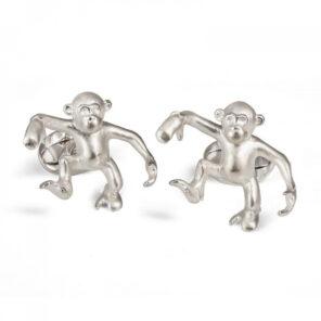 Sterling Silver 'Steve' Dancing Monkey Cufflinks