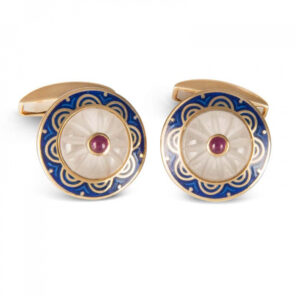 18ct Yellow Gold Round Cufflinks with Fancy Blue Border & Crystal and Ruby Centre