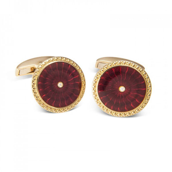 18ct Yellow Gold Round Cufflinks with Red Enamel & Diamond Centre