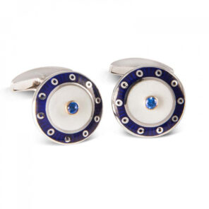 18ct White Gold Round Cufflinks with Blue Border & Mother of Pearl and Sapphire Centre
