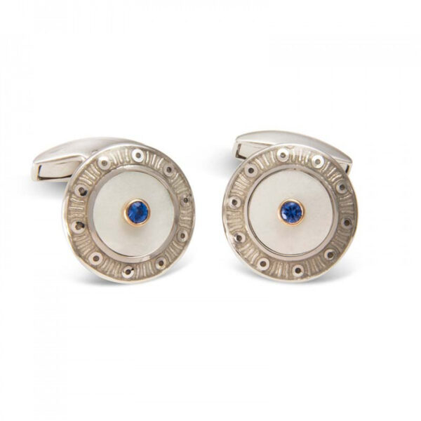 18ct White Gold Round Cufflinks with Light Grey Border & Mother-of-Pearl and Sapphire Centre