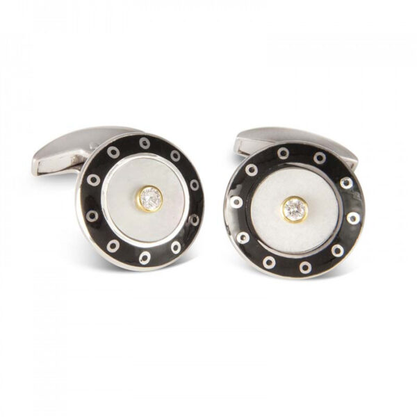 18ct White Gold Round Cufflinks with Black Border & Mother-of-Pearl and Diamond Centre