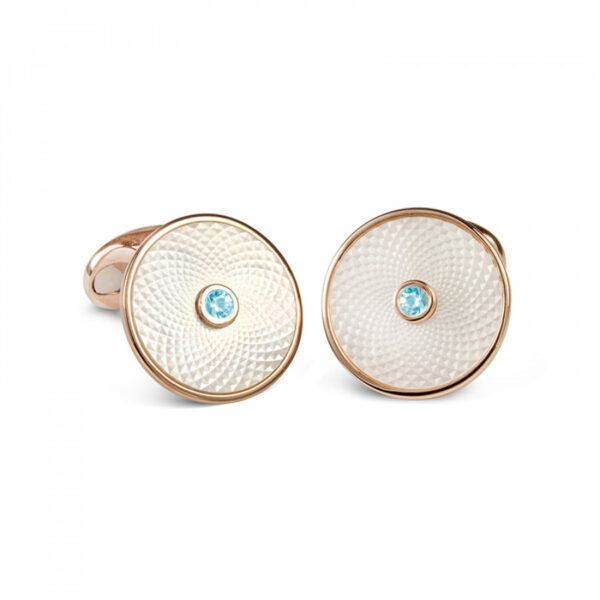 Sterling Silver White Mother-of-Pearl Cufflinks with Aquamarine Gemstone