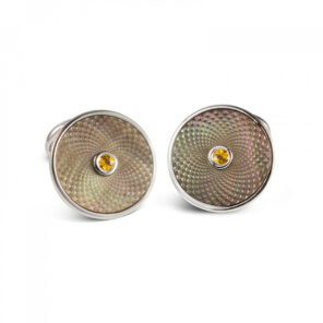Sterling Silver Grey Mother-of-Pearl Cufflinks with a Yellow Sapphire Gemstone