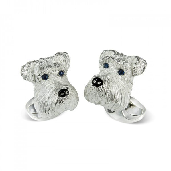 Sterling Silver Schnauzer Dog Cufflinks