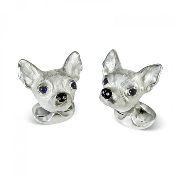 Sterling Silver Chihuahua Dog Cufflinks