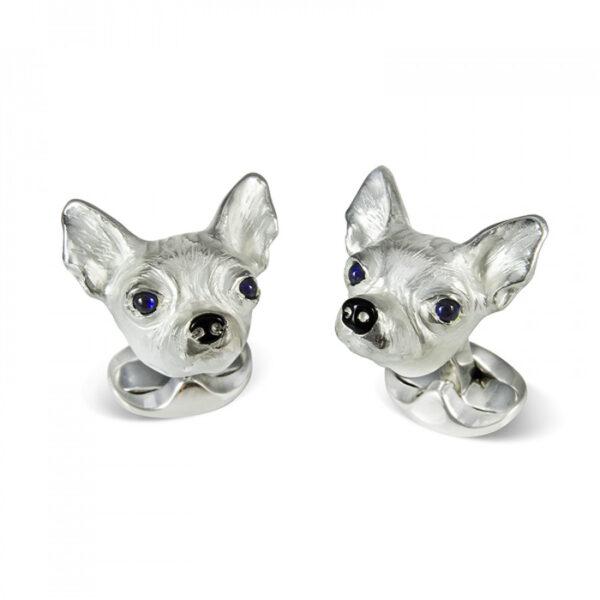 Sterling Silver Chihuahua Dog Cufflinks