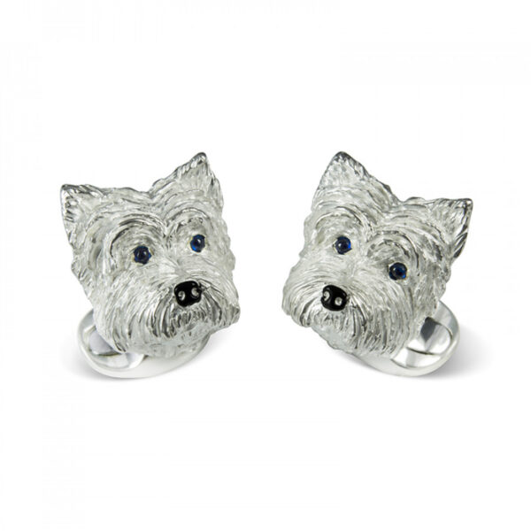 Sterling Silver West Highland Terrier Dog Cufflinks