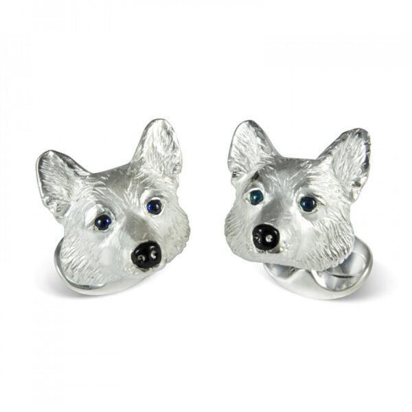 Sterling Silver Corgi Dog Cufflinks