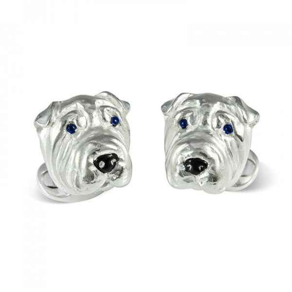 Sterling Silver Sharpei Dog Cufflinks