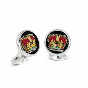 Sterling Silver Embroidered Crown Cufflinks