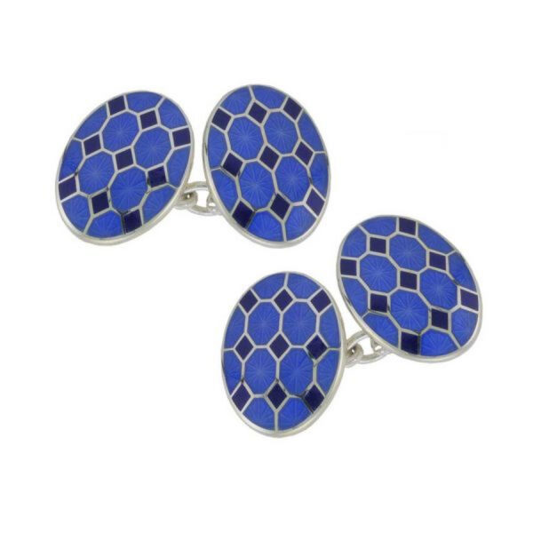 Sterling Silver Blue Patterned Enamel Chain Link Cufflinks
