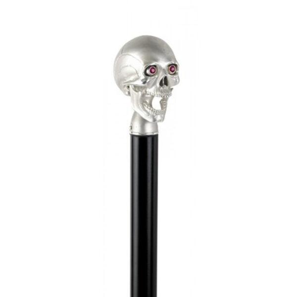 Black Walking Stick with High Shine Skull Head