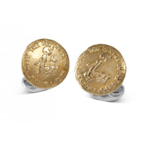 Sterling Silver 230 Coin Cufflinks - D&F Crest