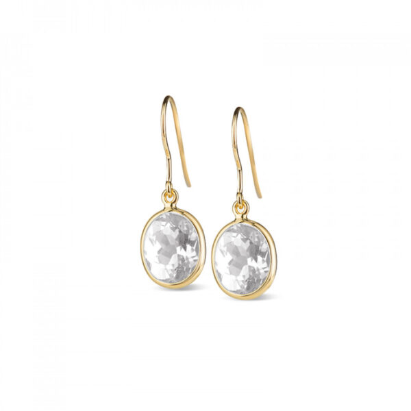 Leora Oval Shaped White Topaz Drop Earring