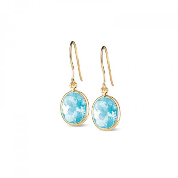 Leora Oval Shaped Blue Topaz Drop Earring
