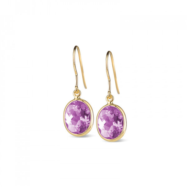 Leora Oval Shaped Amethyst Drop Earring
