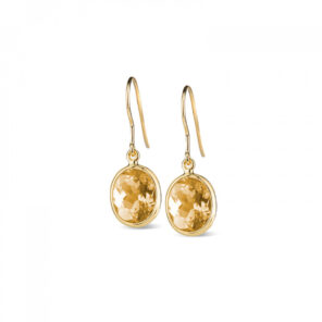 Leora Oval Shaped Citrine Drop Earring