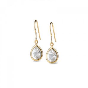Leora Teardrop Shaped White Topaz Drop Earring