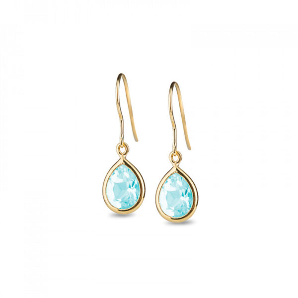 Leora Teardrop Shaped Blue Topaz Drop Earring