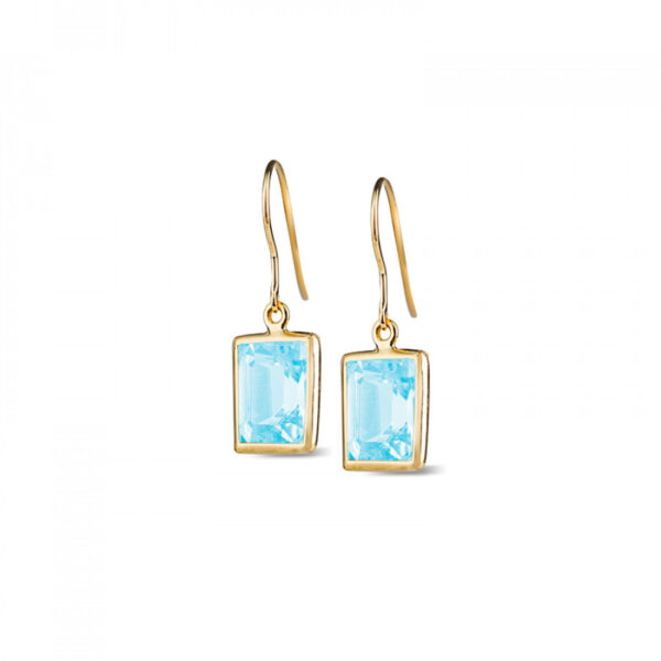 Leora Rectangle Shaped Blue Topaz Drop Earring
