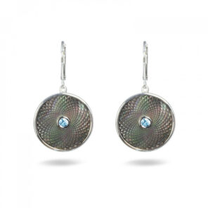 Grey Mother-of-Pearl Dreamcatcher Earrings with Aquamarine Gem