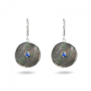 Grey Mother-of-Pearl Dreamcatcher Earrings with Blue Sapphire Gem