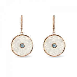 White Mother of Pearl Dreamcatcher Earrings with Aquamarine Gem