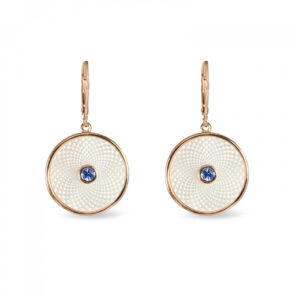 White Mother of Pearl Dreamcatcher Earrings with Blue Sapphire Gem