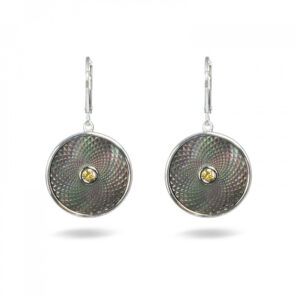 Grey Mother-of-Pearl Dreamcatcher Earrings with Yellow Sapphire Gem