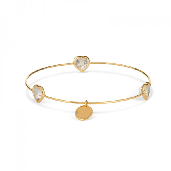 Leora Heart Shaped Gemstone Bangle in White Topaz