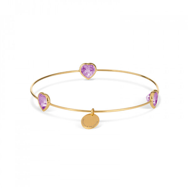 Leora Heart Shaped Gemstone Bangle in Amethyst