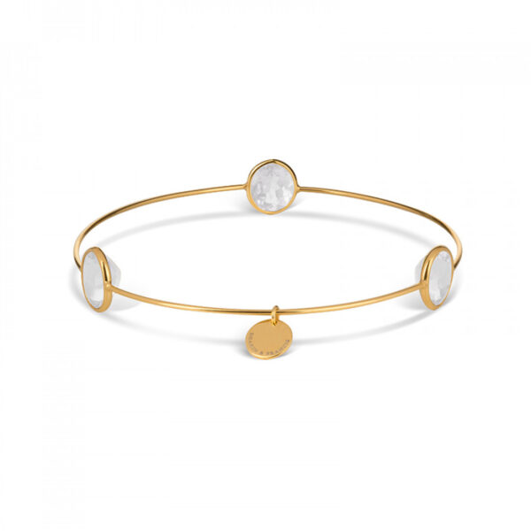 Leora Oval Shaped Gemstone Bangle in White Topaz