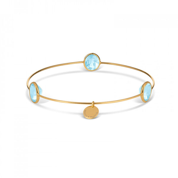 Leora Oval Shaped Gemstone Bangle in Blue Topaz