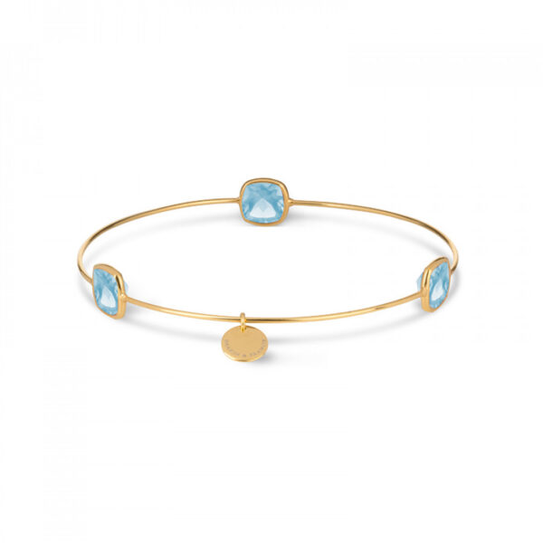 Leora Cushion Shaped Gemstone Bangle in Blue Topaz