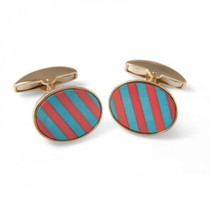 18ct Yellow Gold Precious Gemstone Striped Cufflinks in Coral & Turquoise