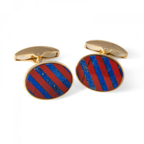 18ct Yellow Gold Precious Gemstone Striped Cufflinks With Jasper & Lapis Lasuli