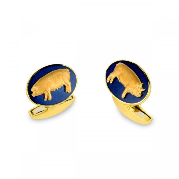 18ct Yellow Gold Pig Cufflinks