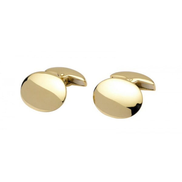 18ct Yellow Gold Plain Domed Oval Cufflinks