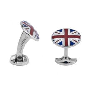 Sterling Silver Union Jack Enamel Cufflinks