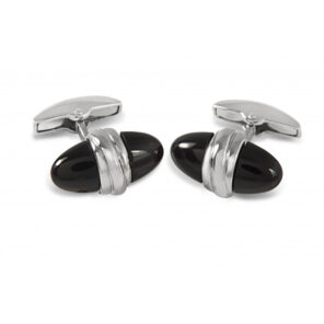18ct White Gold Onyx Bullet Cufflinks