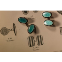Sterling Silver Blue Oval Vitreous Enamel Vintage Cufflinks